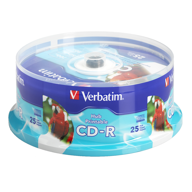 photograph regarding Inkjet Printable Cd named Verbatim CD-R up in direction of 52X White Inkjet Printable Hub Printable Recordable Disc - 25 pack