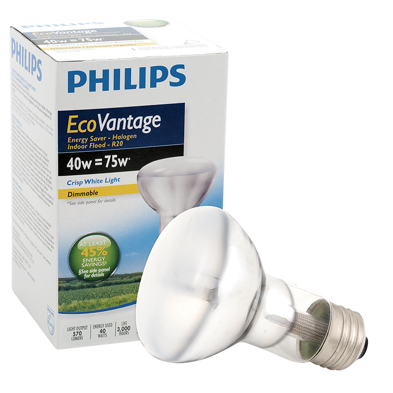 Philips 40W R20 Ecovantage Light Bulb - Flood 1 pack