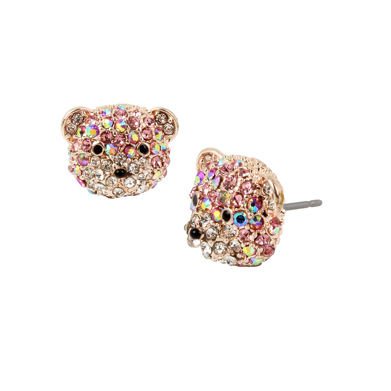 Betsey Johnson Pink Bear Stud Earrings - Rose Gold