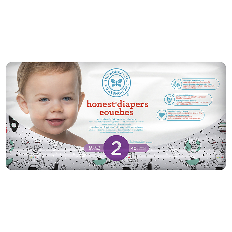 The Honest Company Honest Diapers - Size 2 - 40s - Space Print