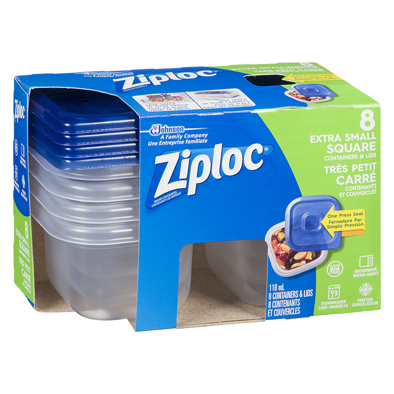 Ziploc Square Containers - X-Small - 8's