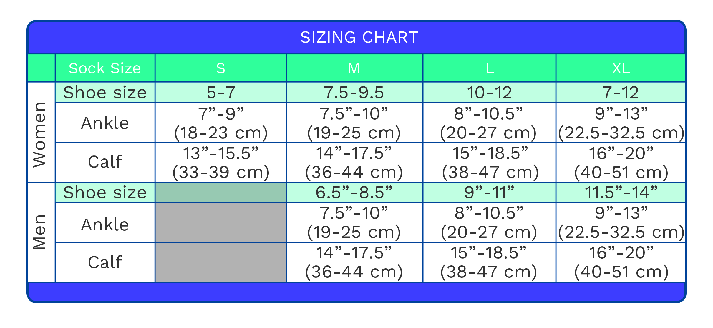 Dr Segals Sizing Chart
