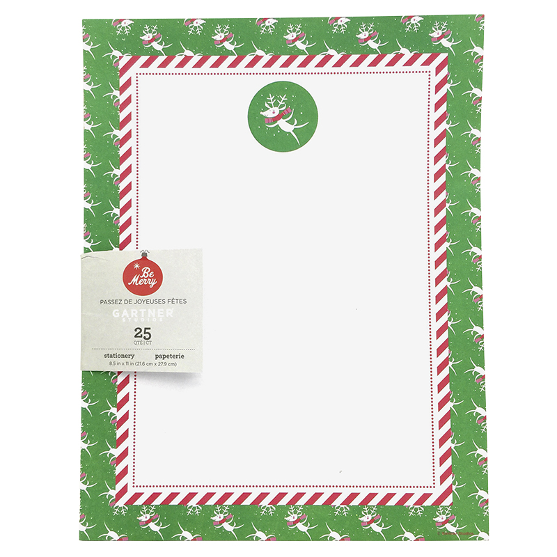 Gartner Christmas Holiday Stationery Printer Paper - Reindeer - 25 Sheets