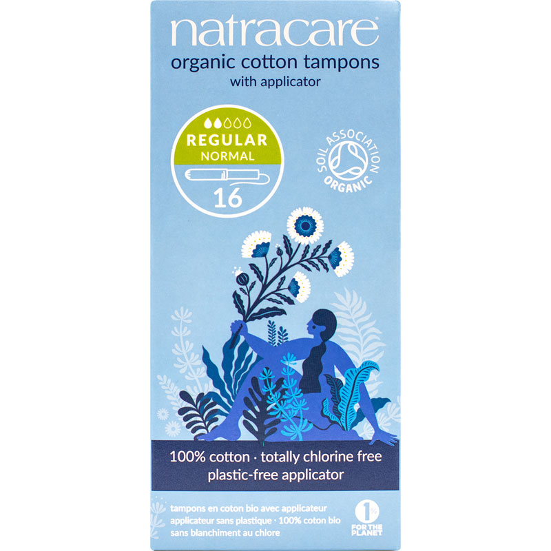 Natracare 100% Certified Organic Cotton Tampons with Applicator - Regular - 16's