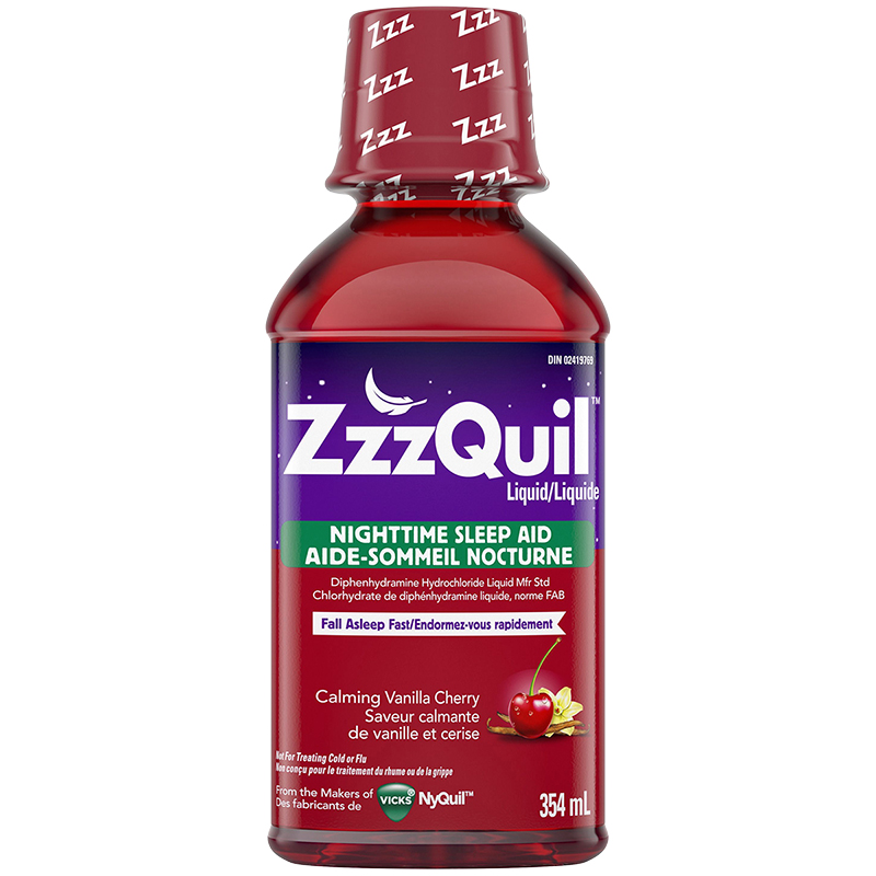 ZzzQuil Nighttime Sleep Aid - Calming Vanilla Cherry - 354ml