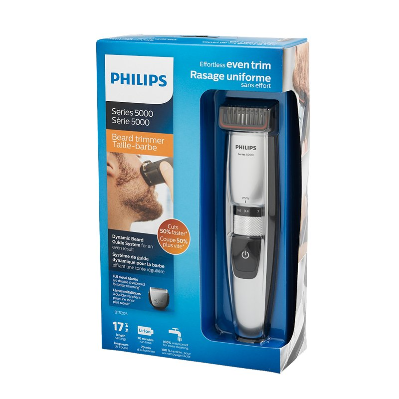 Philips Rechargeable Beard Trimmer 5000 - Blue/Black - BT5202/16