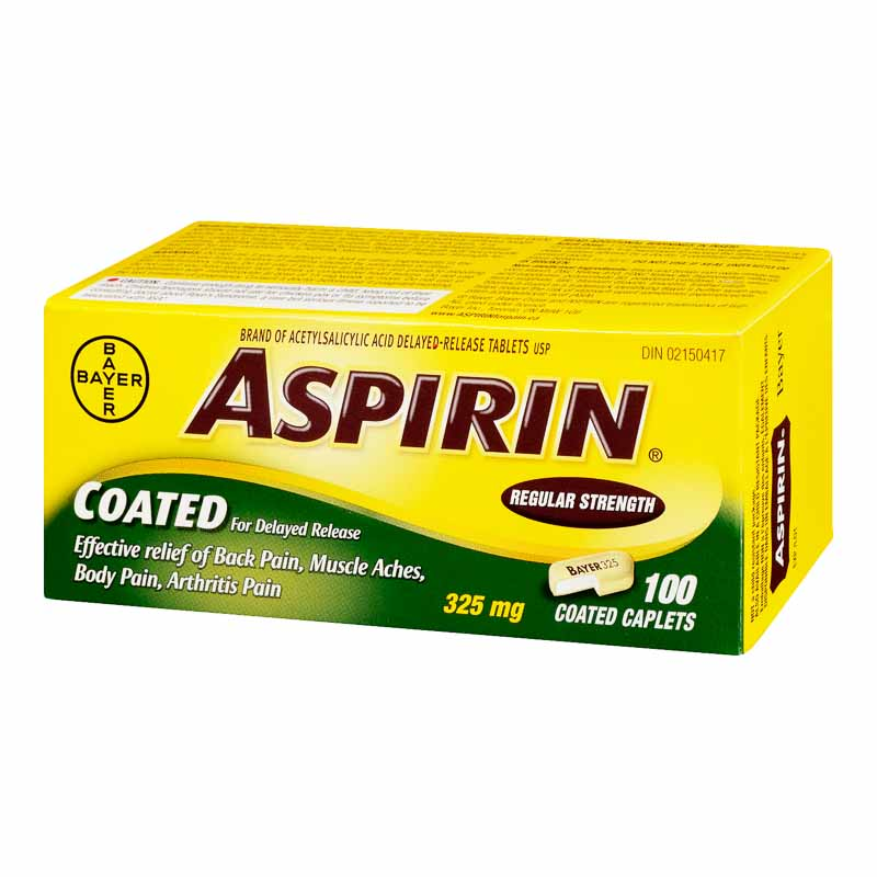 Coated ASPIRIN Caplets - 325MG - 100'S