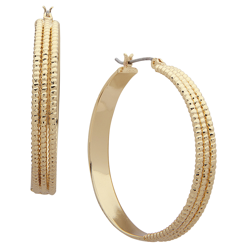 Nine West Medium Textured Hoop Earrings - Gold Tone
