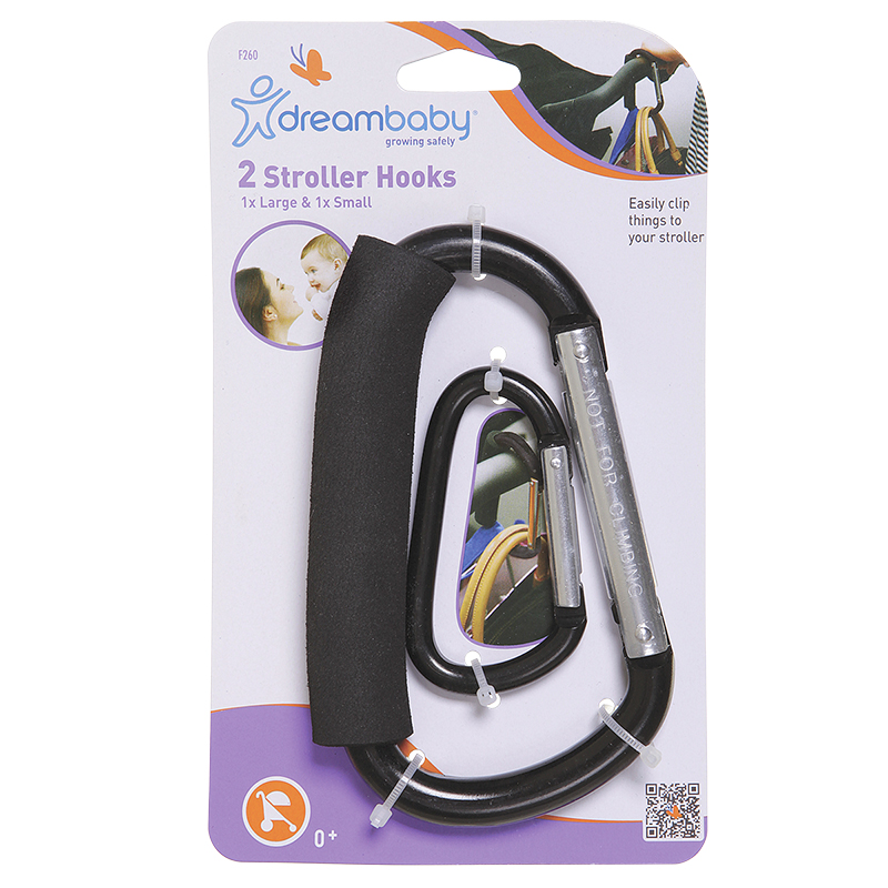 Dreambaby Two Stroller Hooks - Black - LC260
