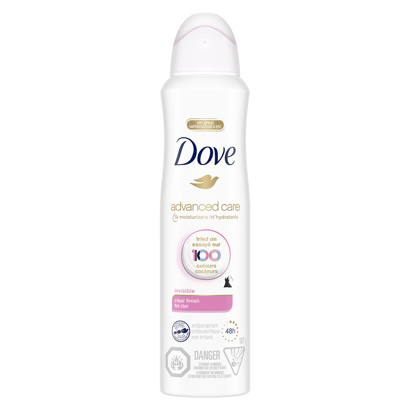 Dove Women Dry Spray Antiperspirant - Clear Finish - 107g