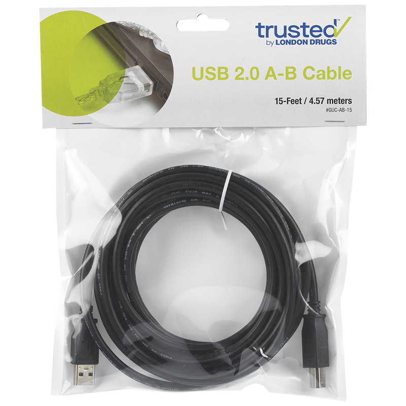 Certified Data USB 2.0 A-B Cable - 4.6 Meters (15 ft)