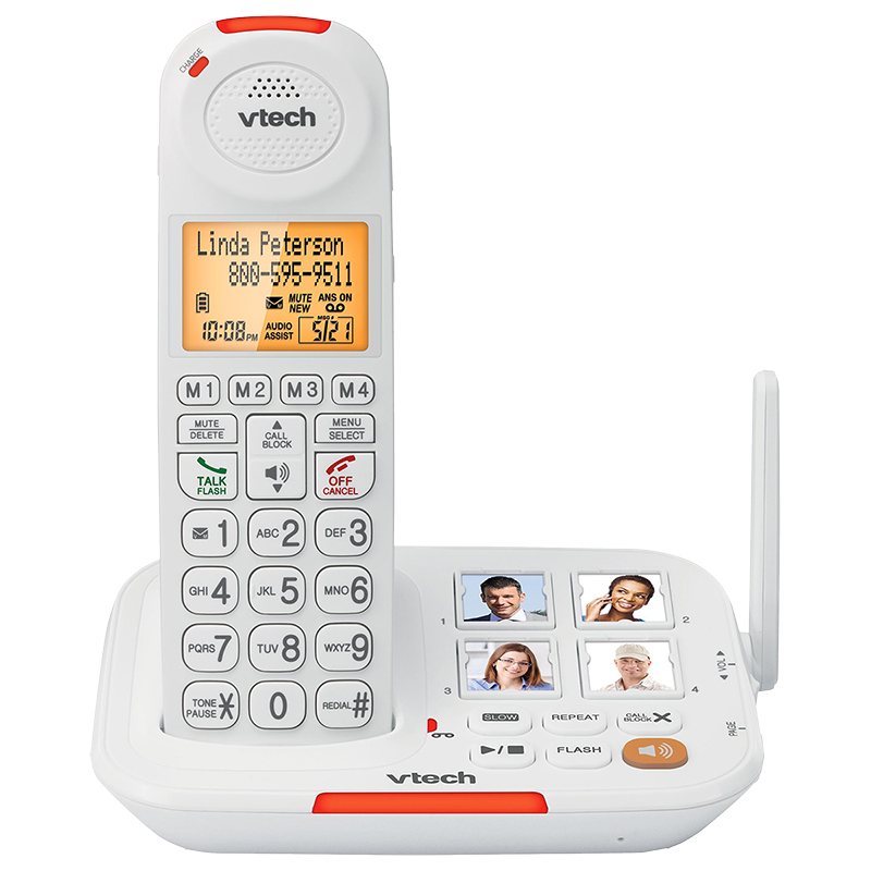 VTech CareLine Amplified Cordless Phone with Answering System and Caller ID - White - SN5127