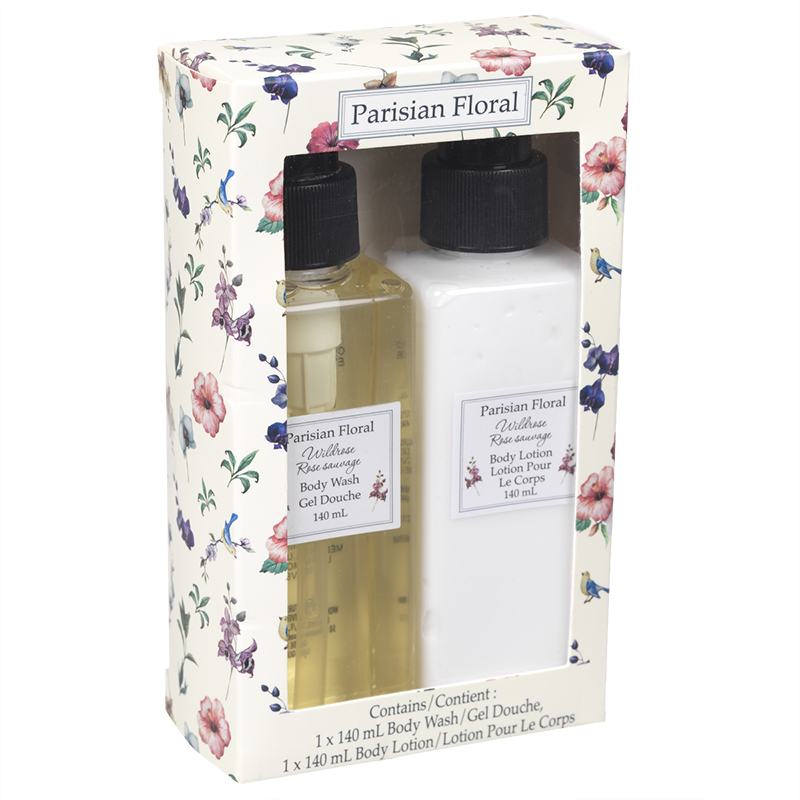 Parisian Floral Bath Set - Wild Rose - 2 x 140ml