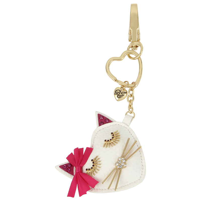 Betsey Johnson Pink Heart Fob Key Chain Ring