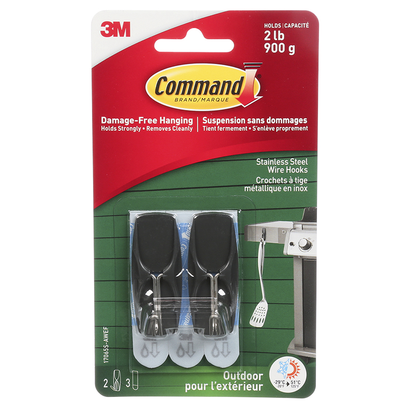 Command™ Medium Outdoor Wire Hooks - Stainless Steel - 2's