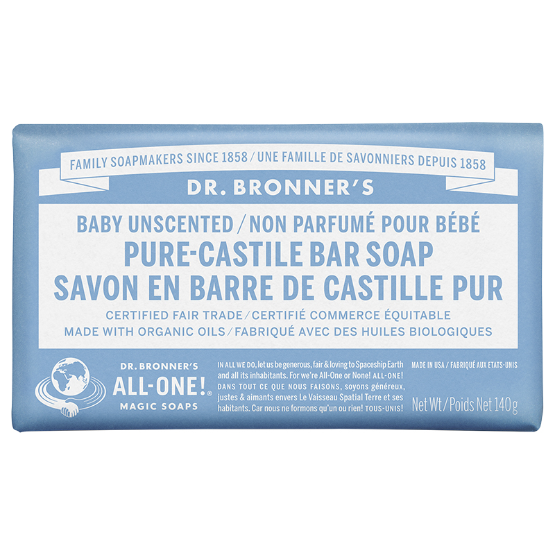 Dr. Bronner's Pure-Castile Bar Soap - Unscented Baby-Mild - 140g