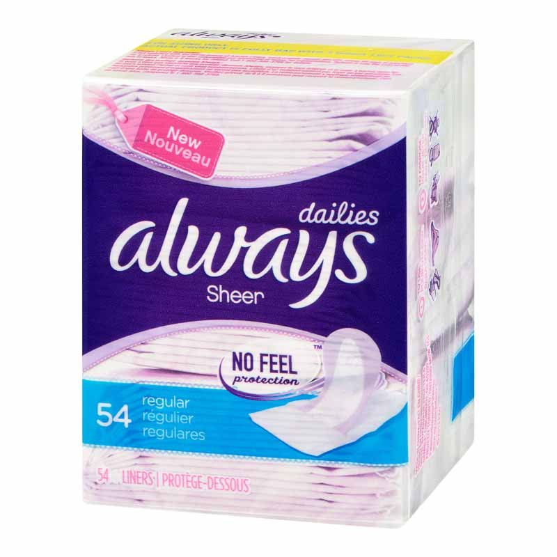 Always Liners - Sheer Unscented - 54's