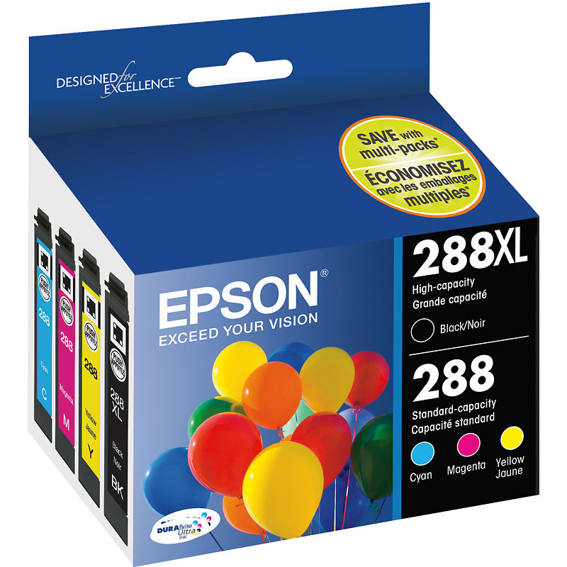 Epson 288XL/288 DuraBrite Ultra Ink - 4 pack - T288XL-BCS