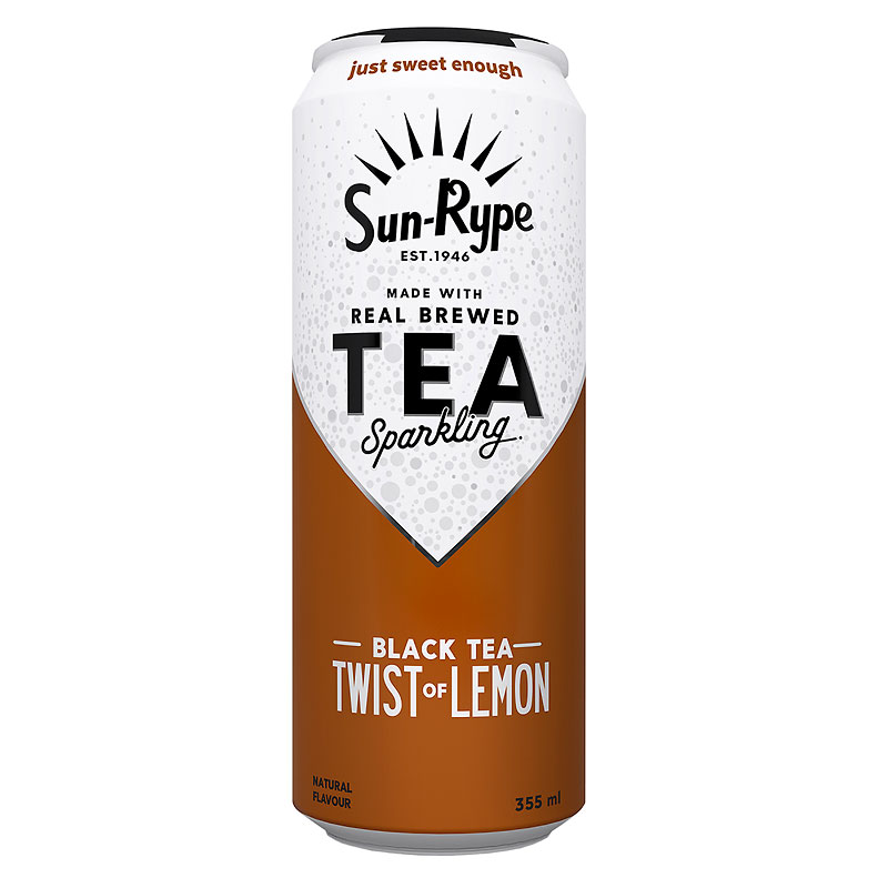 Sun-Rype Sparkling Black Tea - Lemon - 355ml