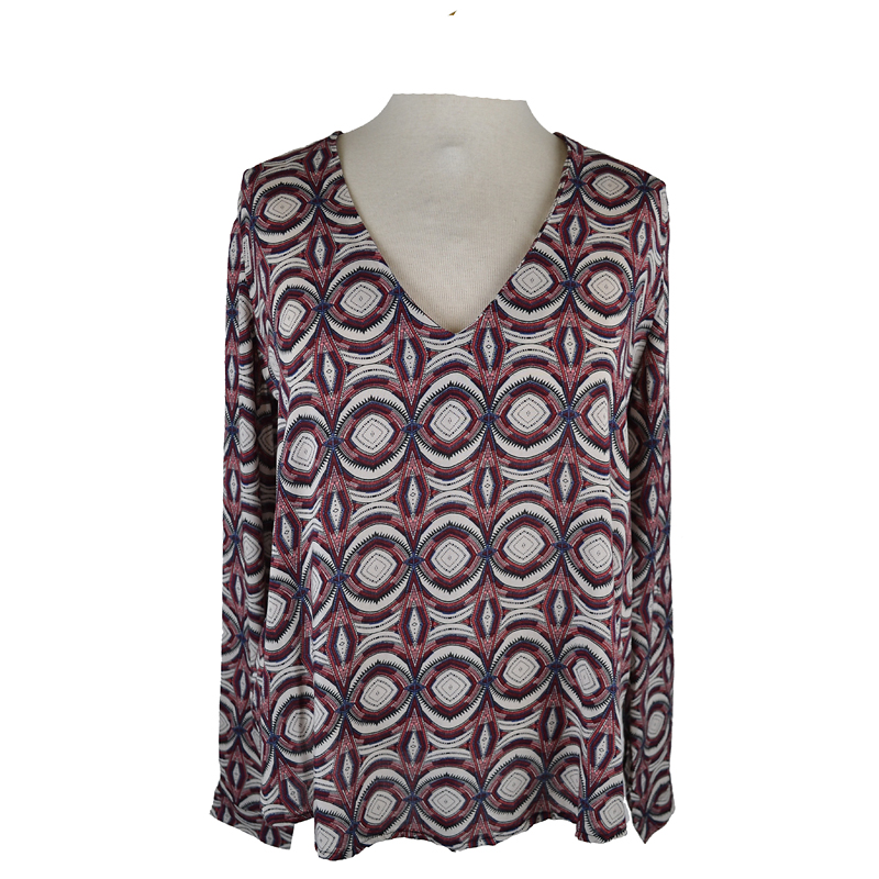 Lava Rollup Sleeve Printed Blouse - Wine