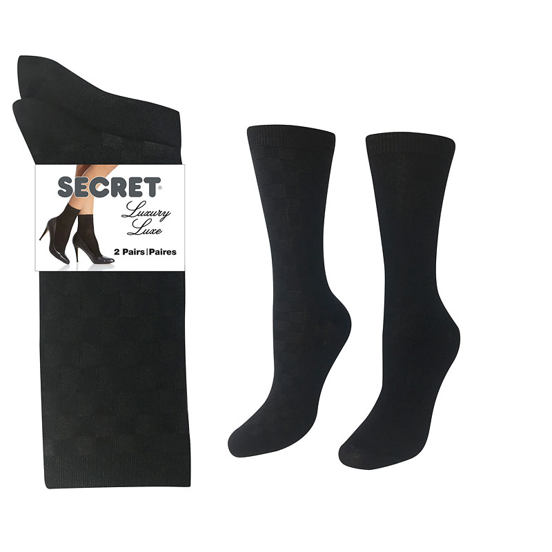 Secret Luxury Textured Sock - Black - 2 pair