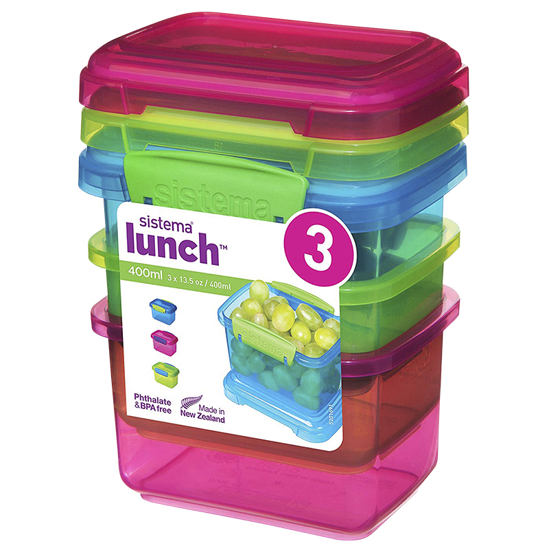 Sistema Lunch Box Containers - 3pk/400ml