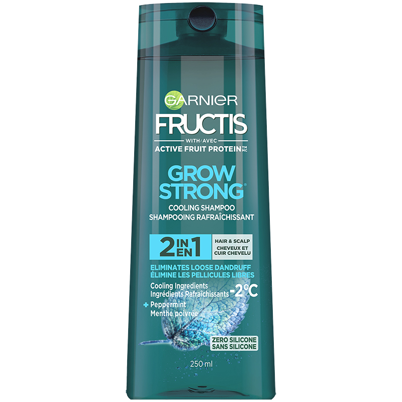 Garnier Fructis Grow Strong Cooling Shampoo 2 in1 Hair & Scalp - Eliminates Loose Dandruff - 250ml