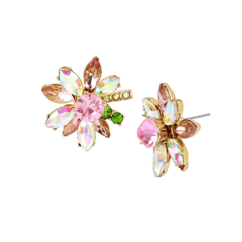 Betsey Johnson Flower Stud Earrings - Gold