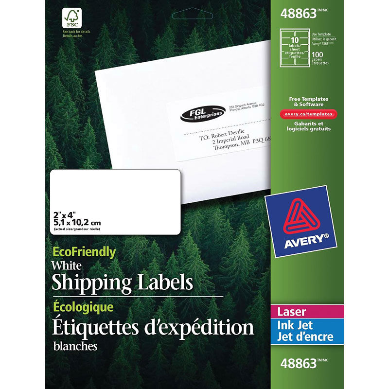 Avery EcoFriendly White Shipping Labels - 2 x 4 Inches - 100