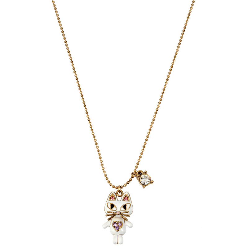 Betsey Johnson White Cat Pendant Necklace - Gold