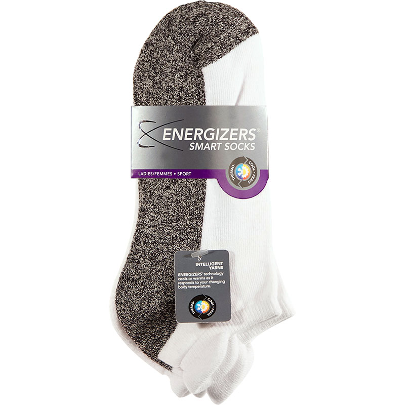 Energizers Cushion Low Cut Smart Sport Socks - Ladies - White/Grey - 3 pair