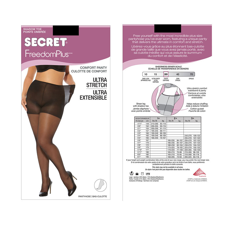 Secret Freedom Plus Pantyhose - Nightshade - 1XL