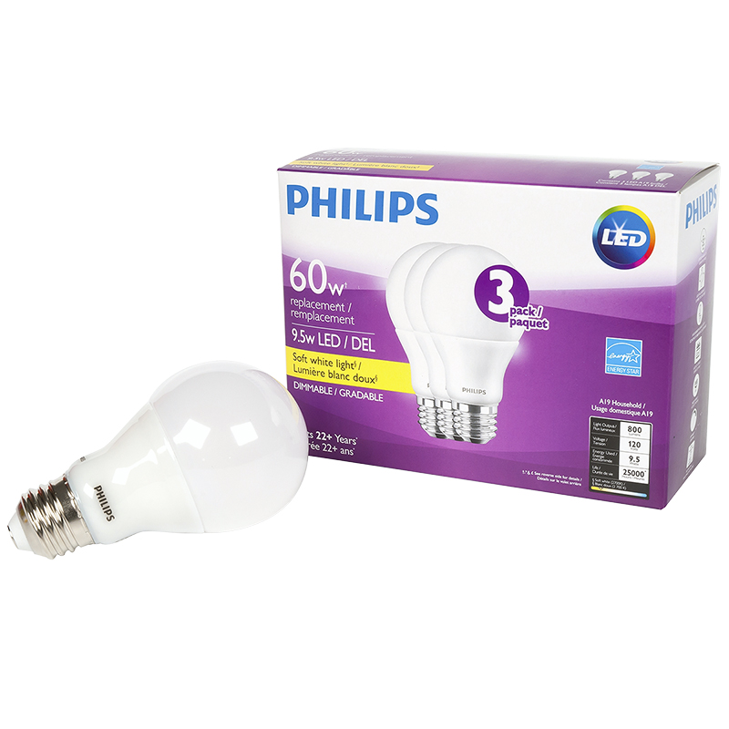 Philips Performance A19 LED Light Bulb - Soft White - 9.5W/3 pack