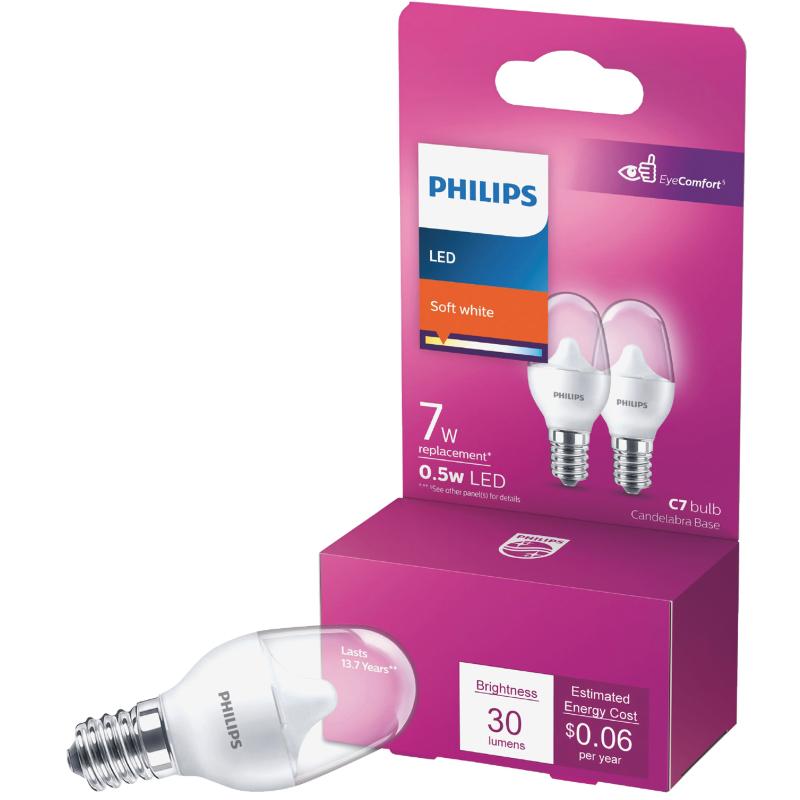 Philips E12 Led Light Bulb 7w Soft