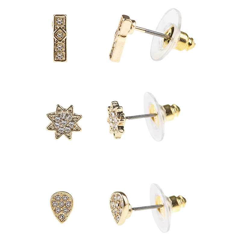 Danori Gold Crystal Stud Earring Trio Set - 3 Pairs - Gold