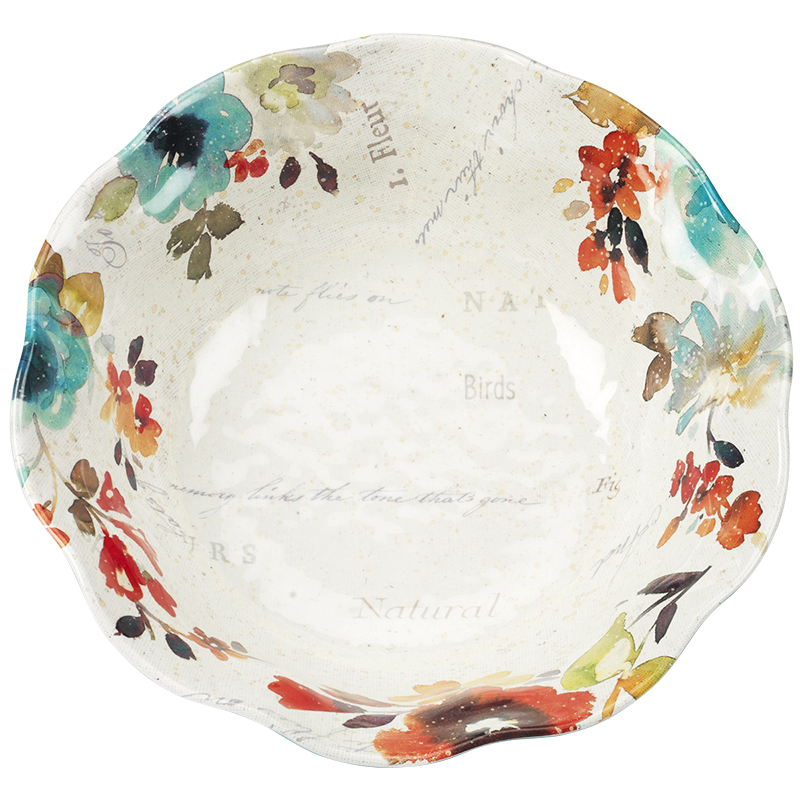 London Drugs Melamine Ruffle Bowl - Floral - 12.5in