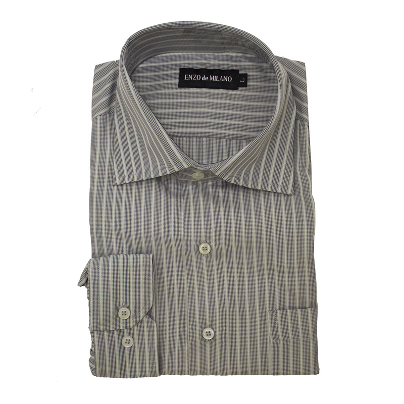 Silvert's Regular Long Sleeve Sport Shirt - Grey Stripe - Small