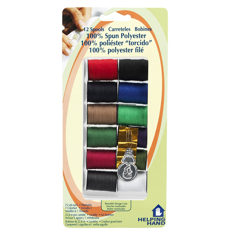 Helping Hand 100% Spun Polyester Thread Spools - Dark Colours - 12 pack