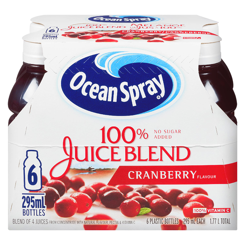Ocean Spray 100% Juice Blend - Cranberry - 6 x 295ml