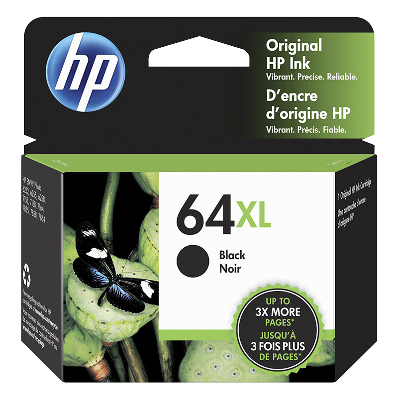 HP 64XL High Capacity Black Printer Ink Cartridge