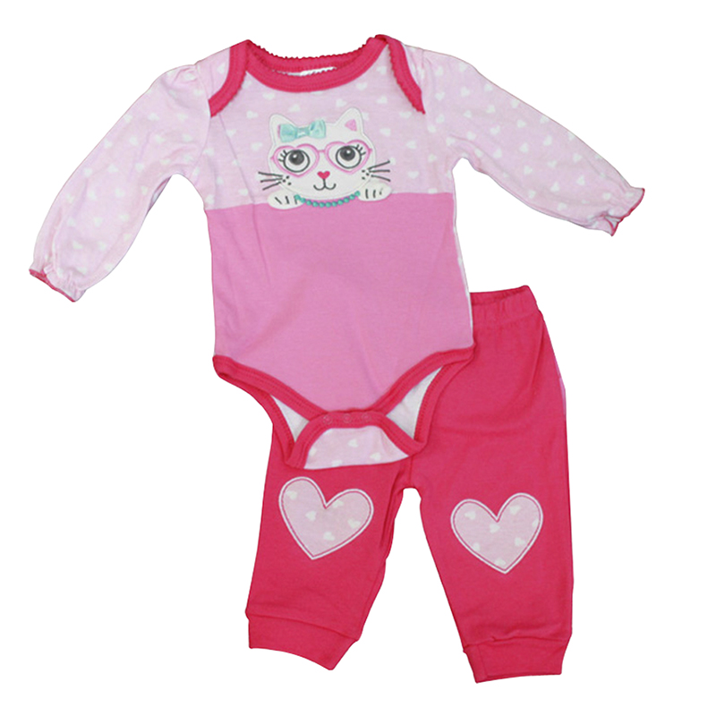 Baby Mode Cute Kitty Onesie and Legging Set - 0-9 months - Assorted