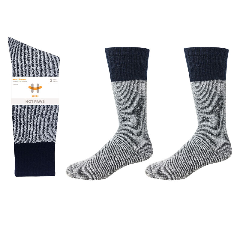 Hot Paws Thermal Socks - Grey/Navy - Sizes 7-12 - 2 Pairs