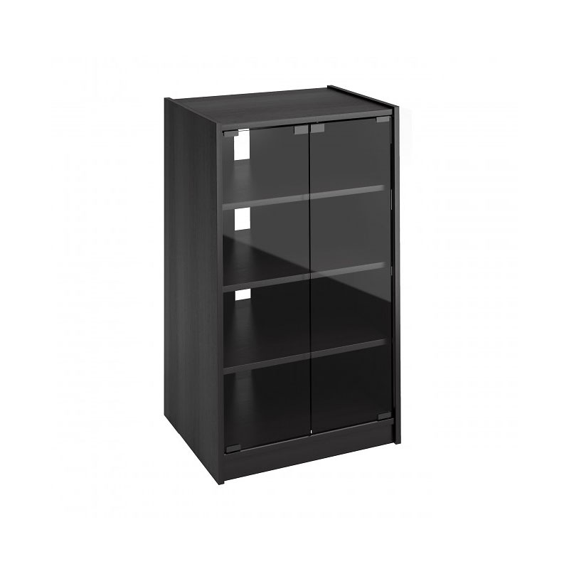 CorLiving Component Stand with Tempered Glass Doors - Black - CR2360