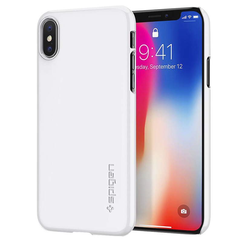 Spigen Thin Fit Case for iPhone X - Jet White - SGP057CS22112