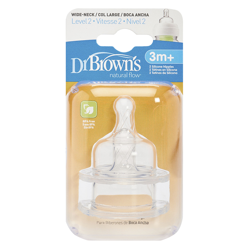 Dr Brown's Natural Flow Nipples Level 2 - Wide-Neck - 2 pack