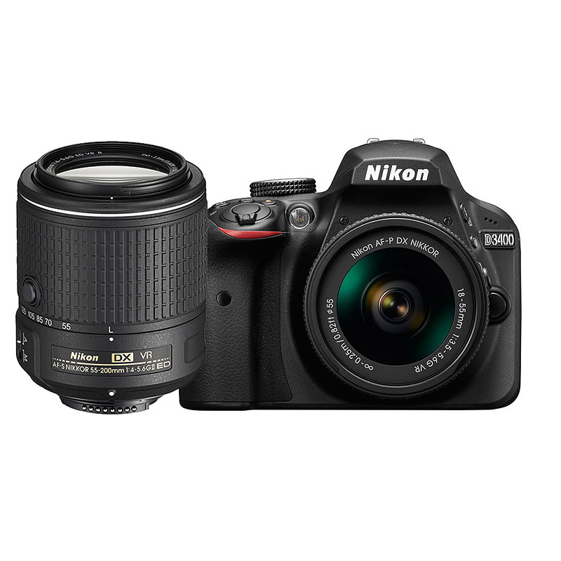Nikon D3400 with AF-P DX 18-55mm VR and AF-S DX 55-200mm VR II Lens - PKG 24665