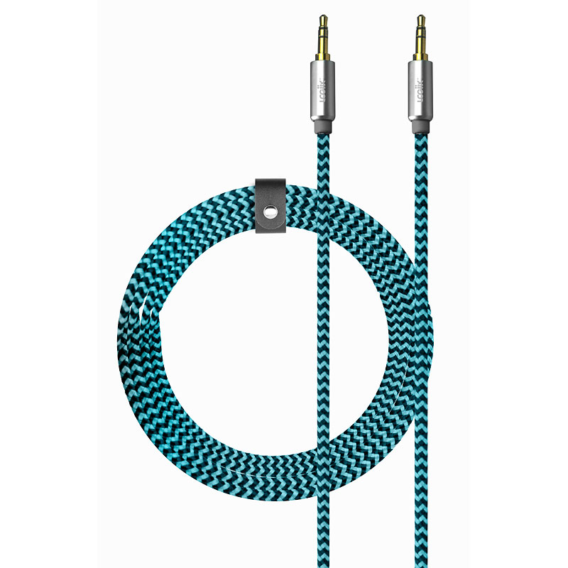 Logiix Piston Connect Braided Auxiliary Cable - Blue/Black - LGX12658