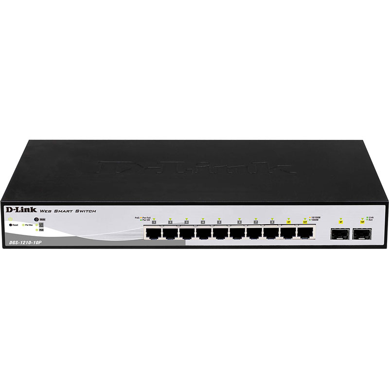 D-Link 10-Port PoE Gigabit WebSmart Switch including 2 Gigabit Combo SFP - DGS-1210-10P