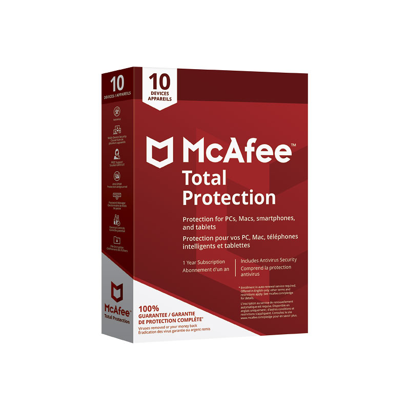 McAfee Total Protection - Ten Devices - One Year