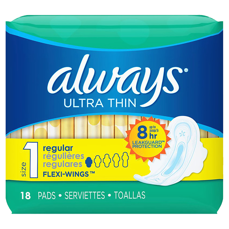 Always Ultra Thin Maxi with Wings - Regular - Unscented - 18's